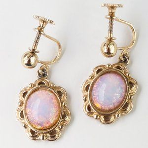 Vintage Jewelry - Pink Cat's Eye Foiled Cabochon Screwback Earrings